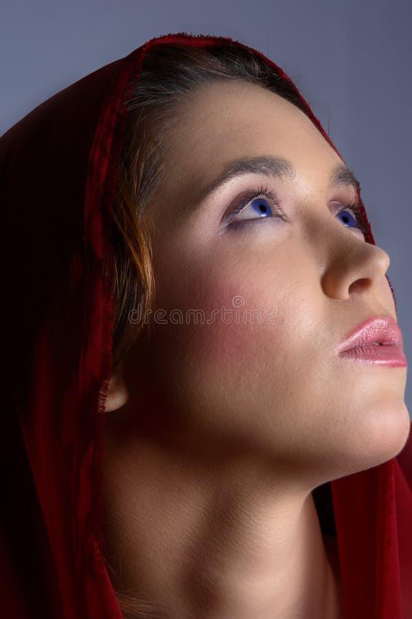 Brunette in foulard fotografia stock