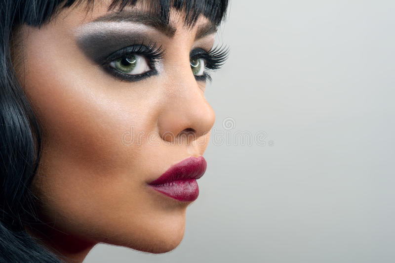 Brunette-Frauennahaufnahme Porträt, Make-up stockfotos