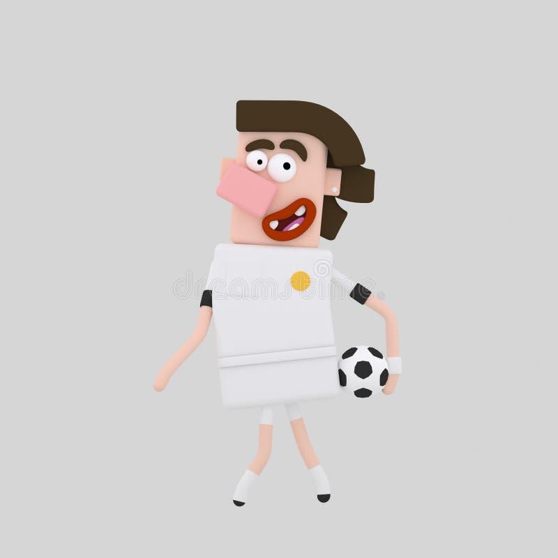 Brunette-Fußball-Spieler stock abbildung