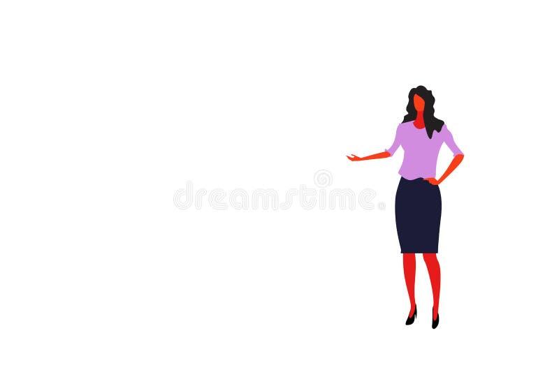 Brunette Geschäftsfrau, die Hand etwas Charakter der weiblichen Büroangestellt-Geschäftsfrau-Stellungshaltung in voller Länge zei lizenzfreie abbildung
