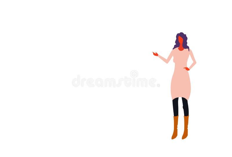 Brunette Geschäftsfrau, die Hand etwas Charakter der weiblichen Büroangestellt-Geschäftsfrau-Stellungshaltung in voller Länge zei vektor abbildung