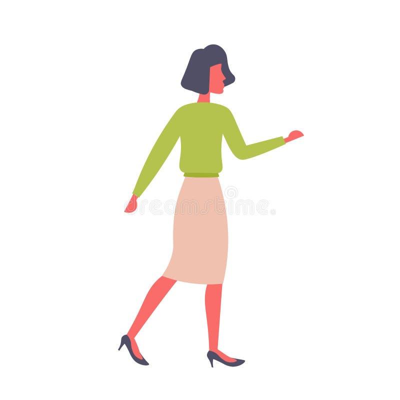 Brunette Geschäftsfrau, die weibliche Zeichentrickfilm-Figur der Handzeichengeschäftsdarstellungskonzept-Frau in voller Länge zei vektor abbildung
