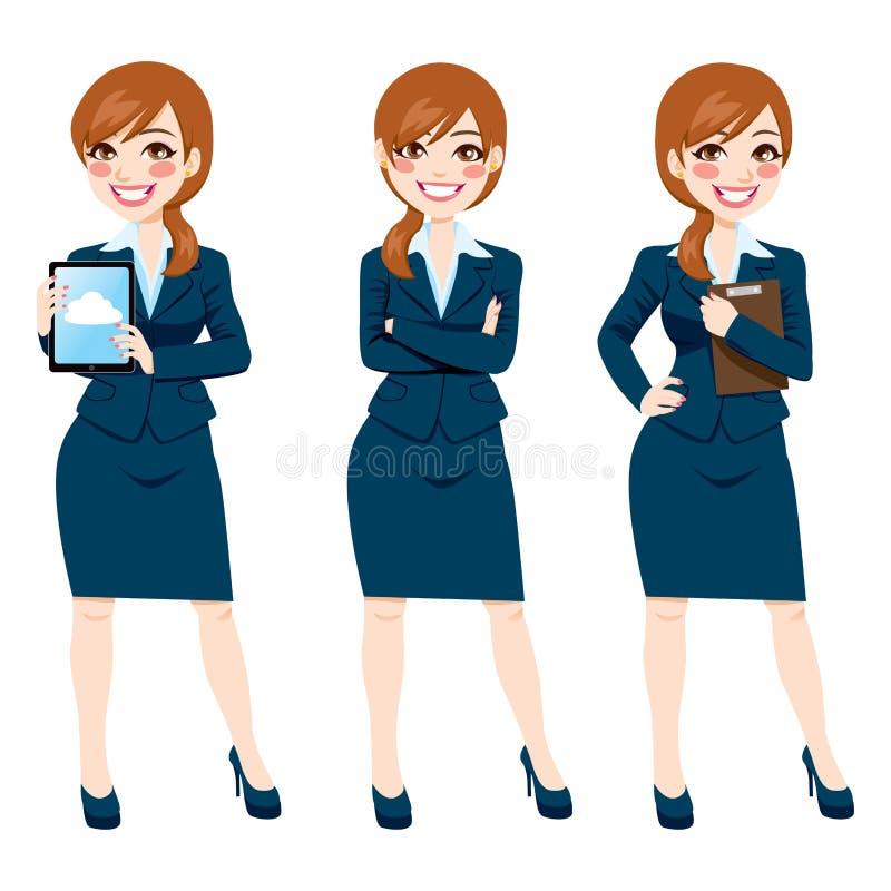 Brunette-Geschäftsfrau Full Body Poses stock abbildung