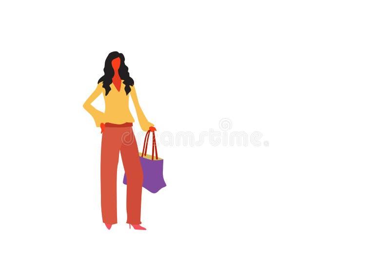 Brunette Geschäftsfrauholdinghandtasche, die der Büroangestellt-Geschäftsfrau der eleganten Kleidung weibliche Karikatur in volle stock abbildung