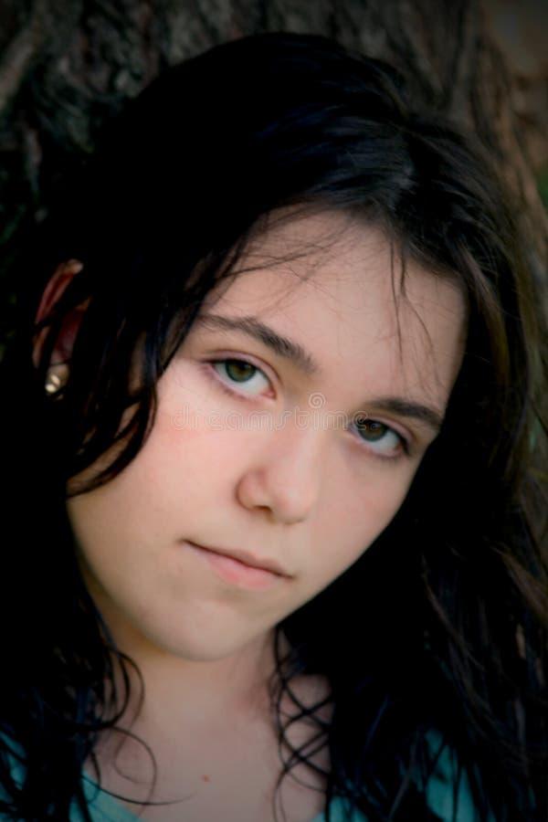 brunette Girl sad black hair stock photos