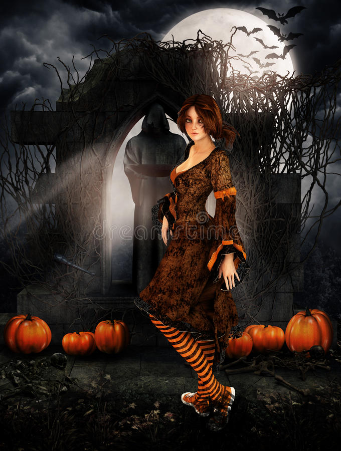 Brunette girl in a cemetary on halloween night. Brunette girl in a dark cemetary on halloween night under a full moon with pumpkin and bats flying vector illustration