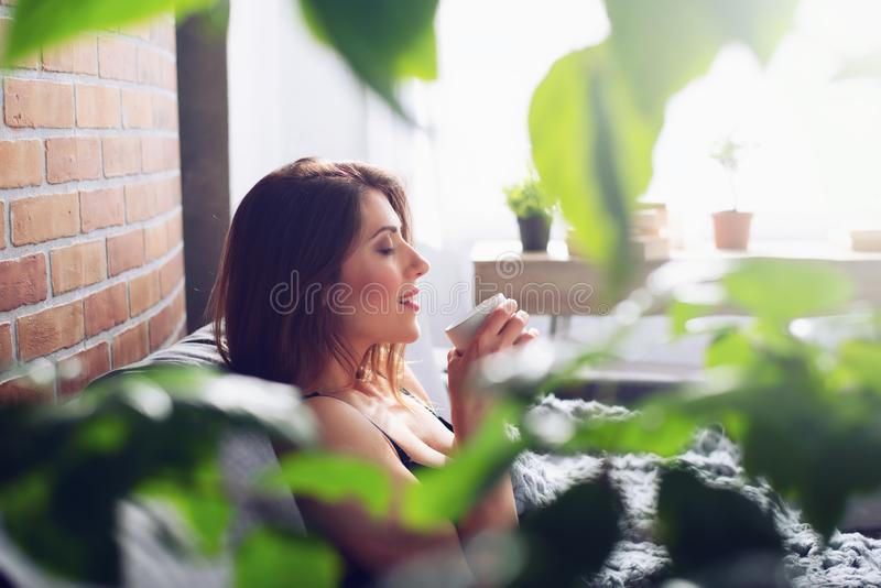Brunette girl drinking cappuccino for breakfast on a sofa. Concept of relax. Brunette girl drinking cappuccino for breakfast on a sofa at home. Concept of relax stock image