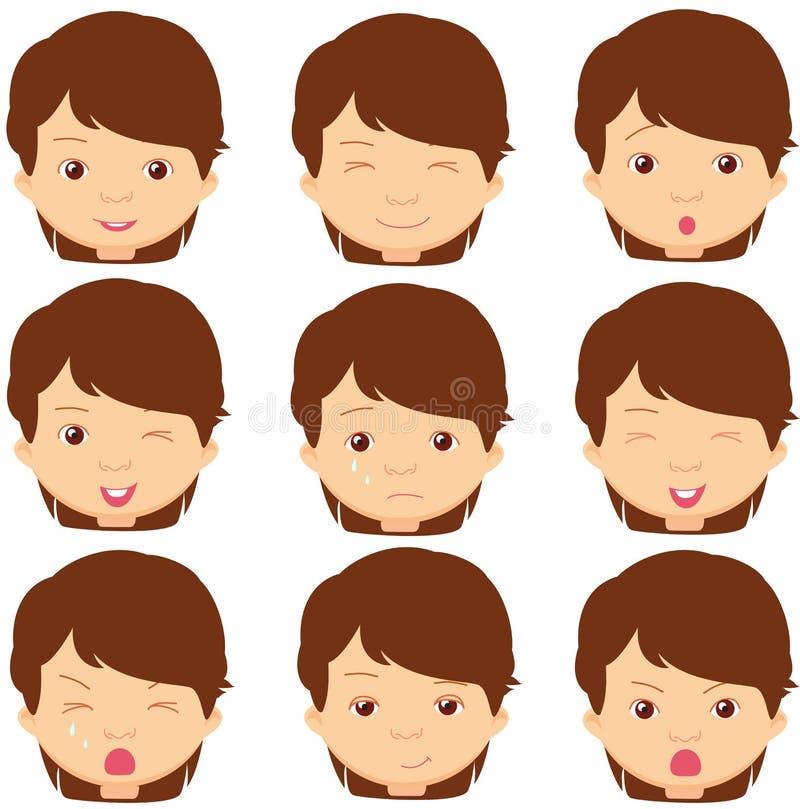 Brunette girl emotions: joy, surprise, fear, sadness, sorrow, cr vector illustration