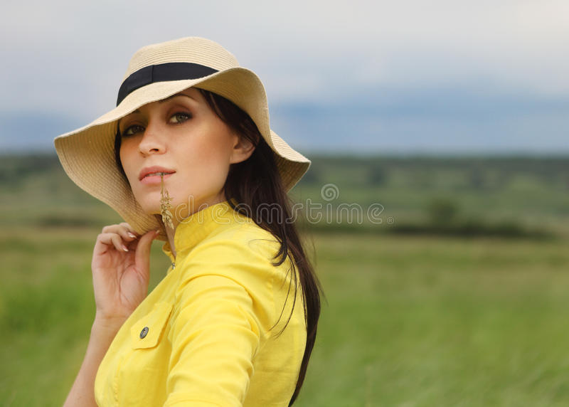Download Brunette Girl In Hat In Summer Day Stock Photo - Image: 25217058
