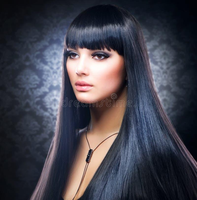 Brunette Girl. Healthy Long Hair stock image