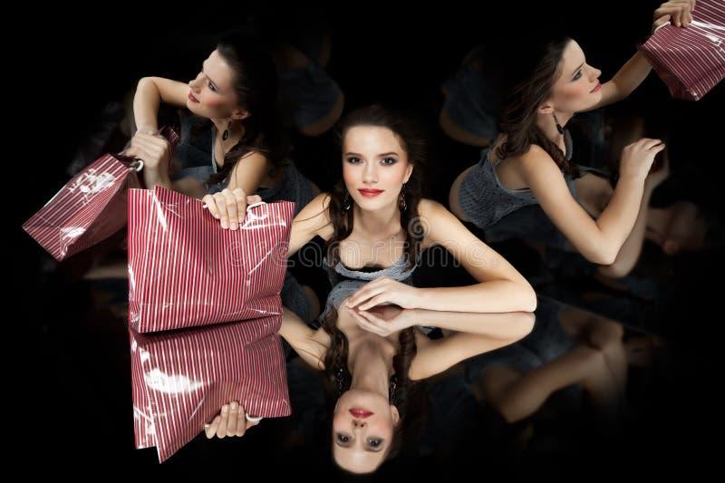 Brunette Girl Kaleidoscope Mirror Stock Images