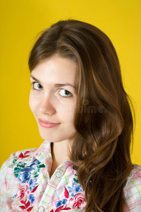 Brunette girl over yellow royalty free stock images