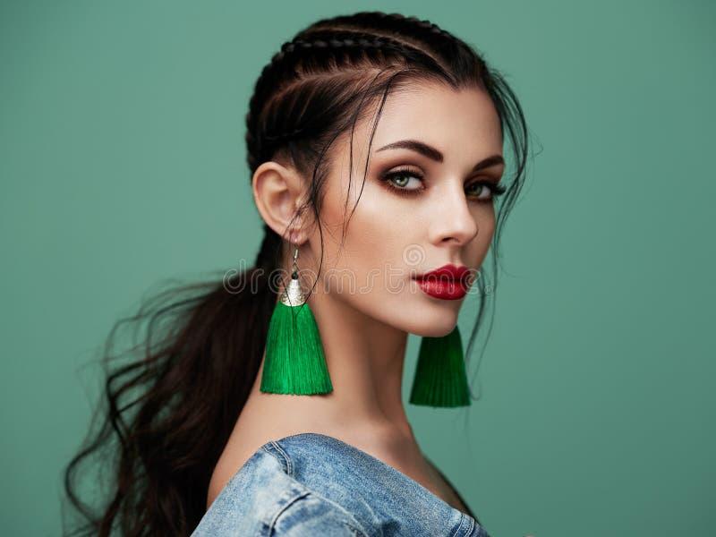 Portrait beautiful woman with jewelry stock image