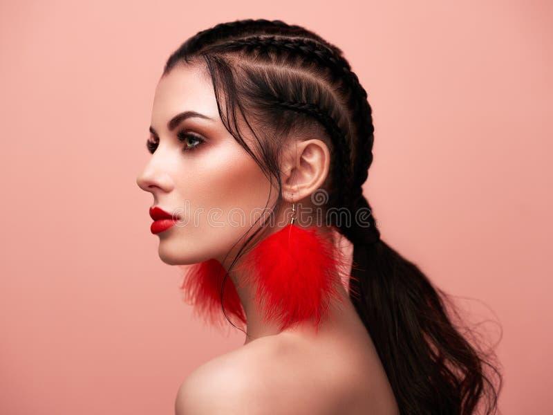 Portrait beautiful woman with jewelry royalty free stock photo