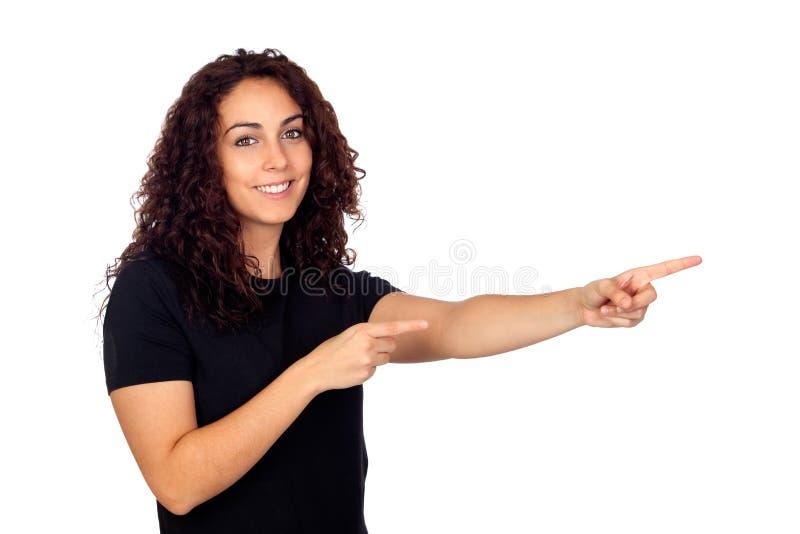 Download Brunette Girl Pointing Something Stock Image - Image: 28017285