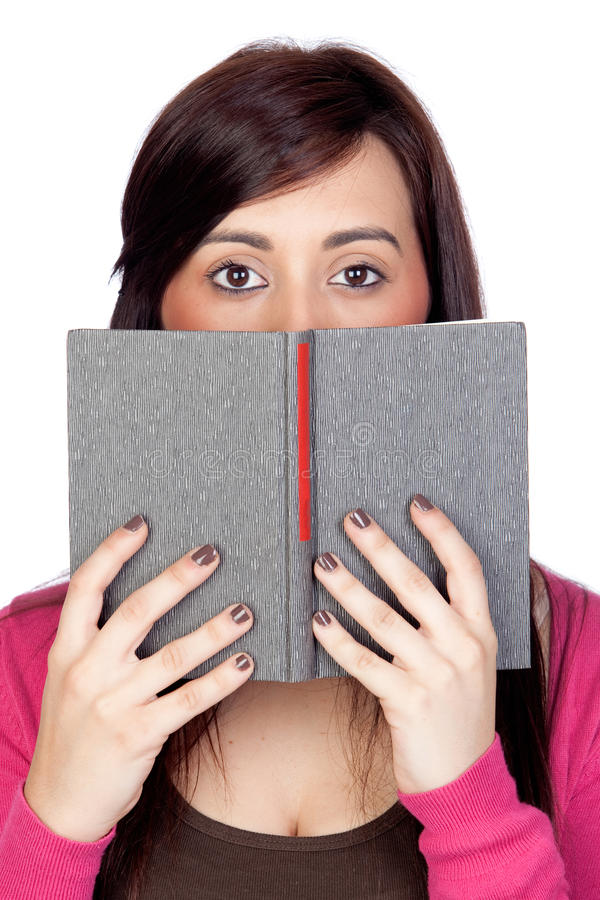 Download Brunette Girl With A Reader Stock Photo - Image: 19980808