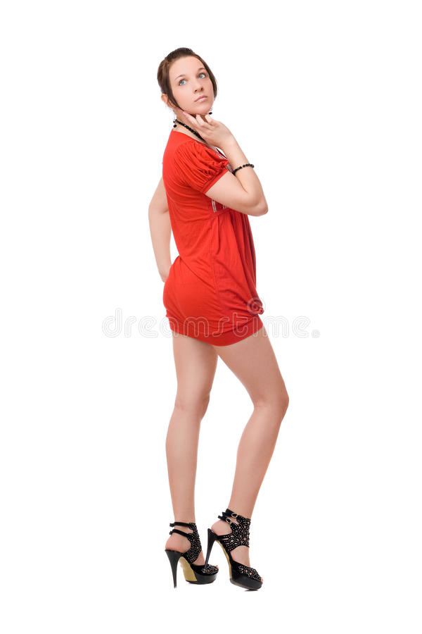 Download Brunette girl in red stock image. Image of lovely, gorgeous - 24144665