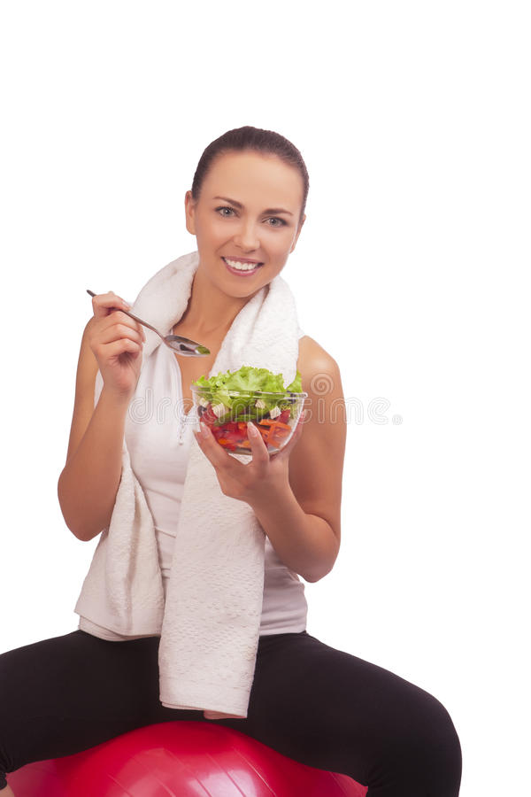 Download Brunette Girl With Vegetable Salad Stock Image - Image: 21042963