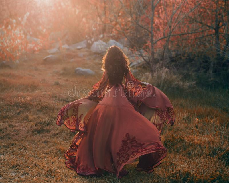 A brunette girl with wavy, thick hair runs to the meeting of the sun. Photo from the back, without a face. The princess. Has a luxurious, red dress that royalty free stock photography