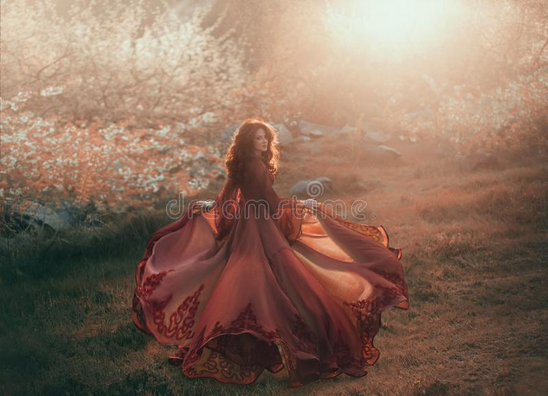 A brunette girl with wavy, thick hair runs to the sun and looks back. The princess has a luxurious, chiffon, red dress. That flutters in the wind. Background of royalty free stock photography