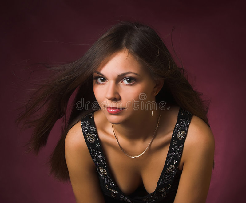 Download Brunette Girl With Wind In The Hair Stock Image - Image: 2318667