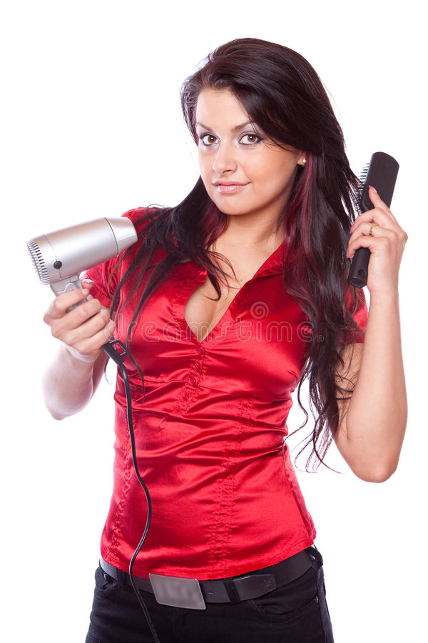 Free Brunette Girl With Hair Dryer Stock Photography - 8779772