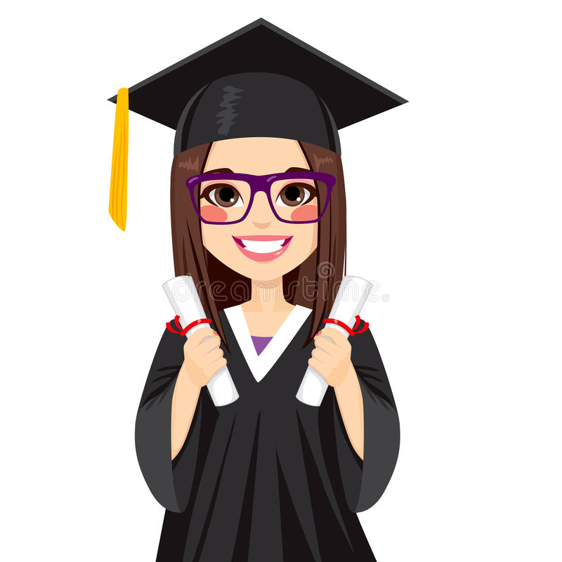 Brunette Graduation Girl. Beautiful brunette girl on graduation day with two diploma on both hands stock illustration