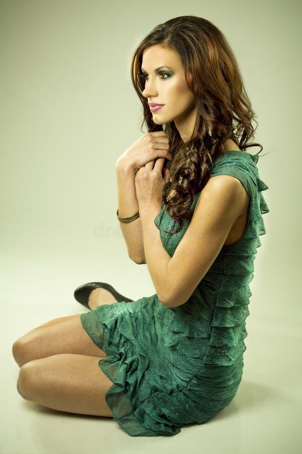 Download Brunette and green dress stock image. Image of elegant - 23549757