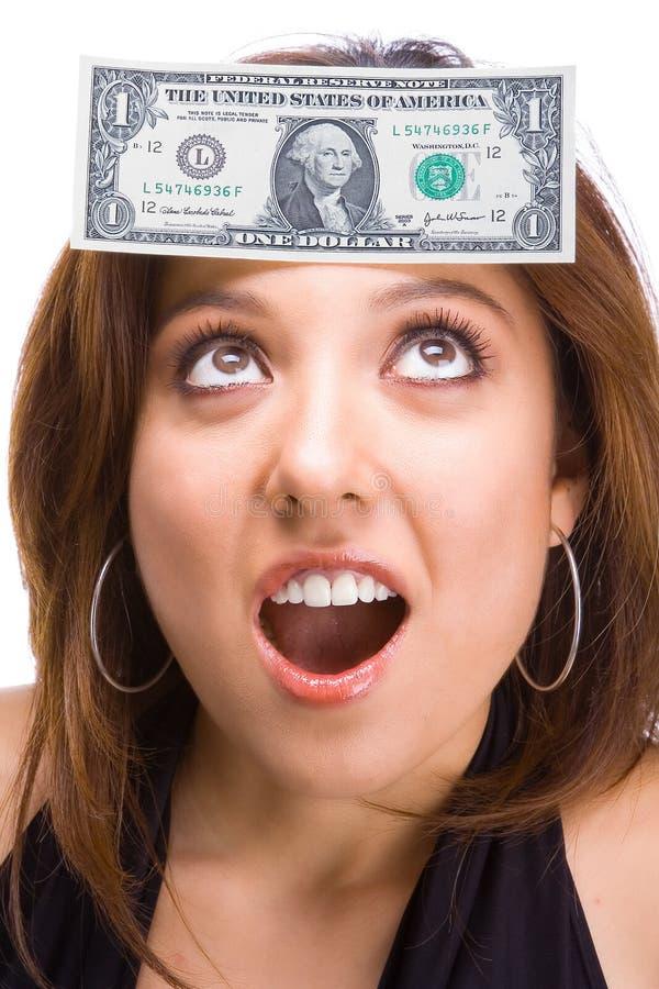 Brunette hermoso con la cuenta de dólar en cara fotos de archivo