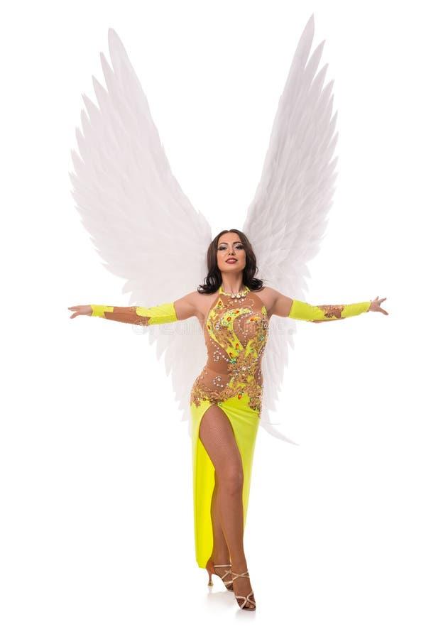 Brunette im herrlichen Kostüm- und Flügelschuß stockfotografie