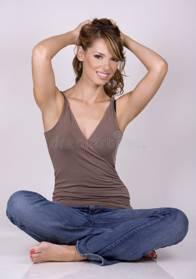 Free Brunette In Jeans Stock Image - 3089781