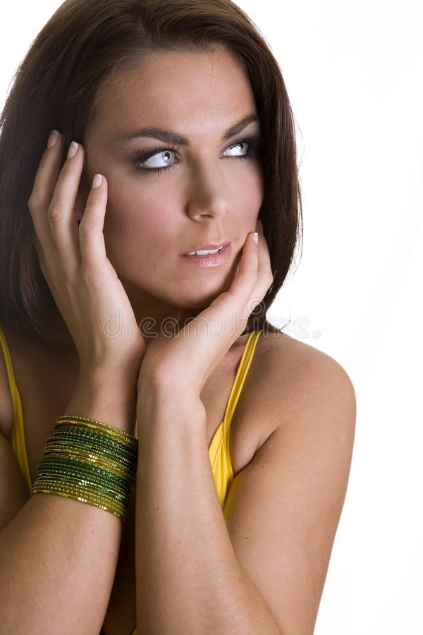 Free Brunette In Yellow Stock Photography - 1946182