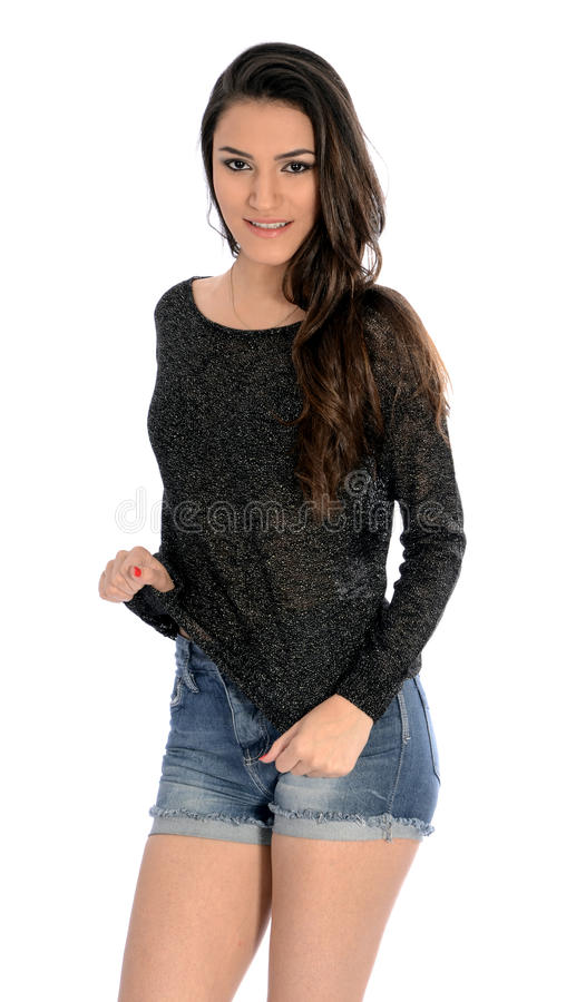 Brunette with jeans royalty free stock photography