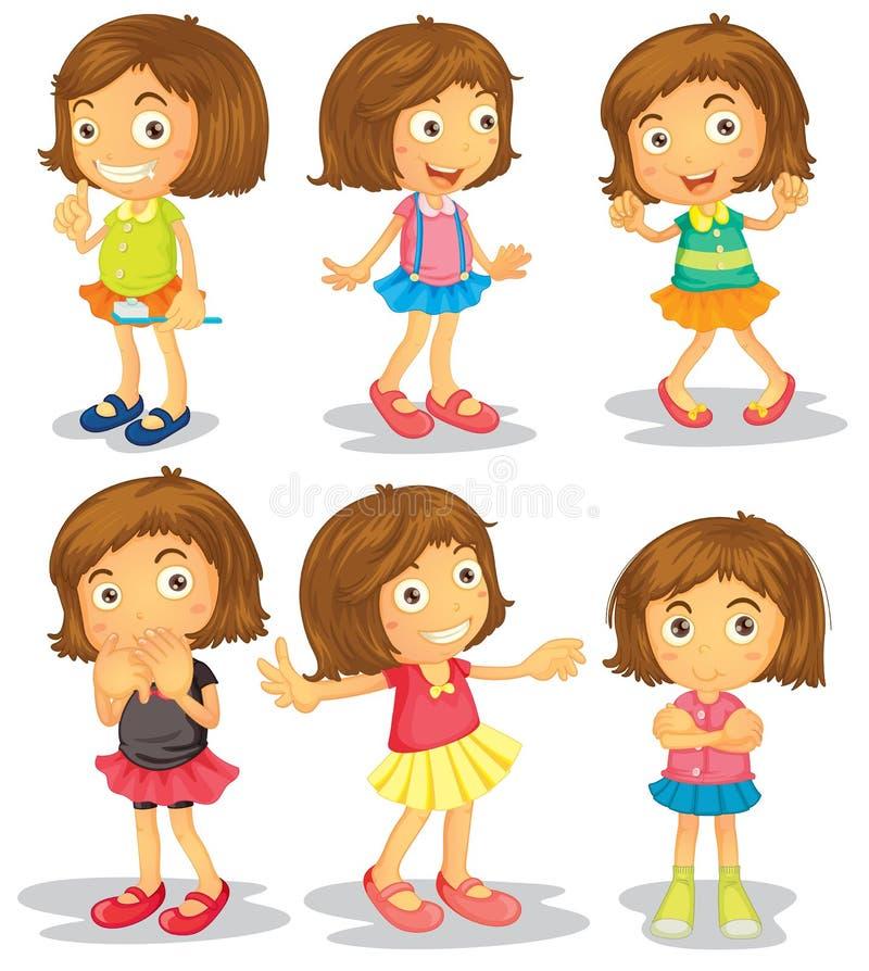 Brunette kids vector illustration