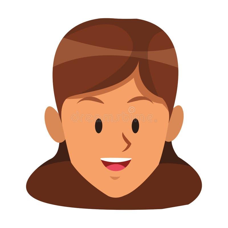 Brunette lächelndes einziges Gesicht der Frau stock abbildung