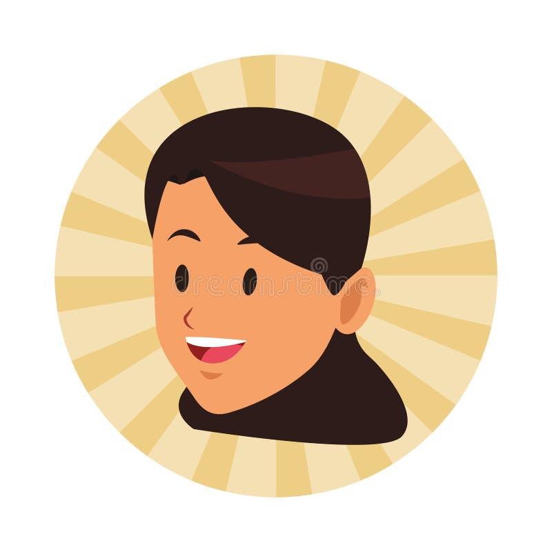 Brunette lächelndes einziges Gesicht der Frau lizenzfreie abbildung