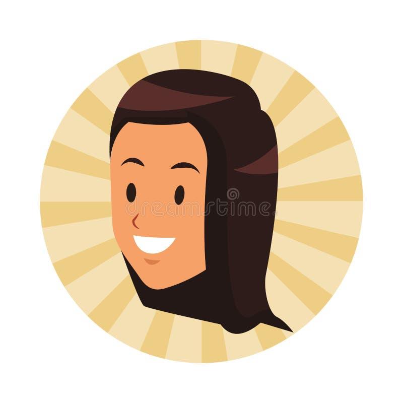 Brunette lächelndes einziges Gesicht der Frau vektor abbildung