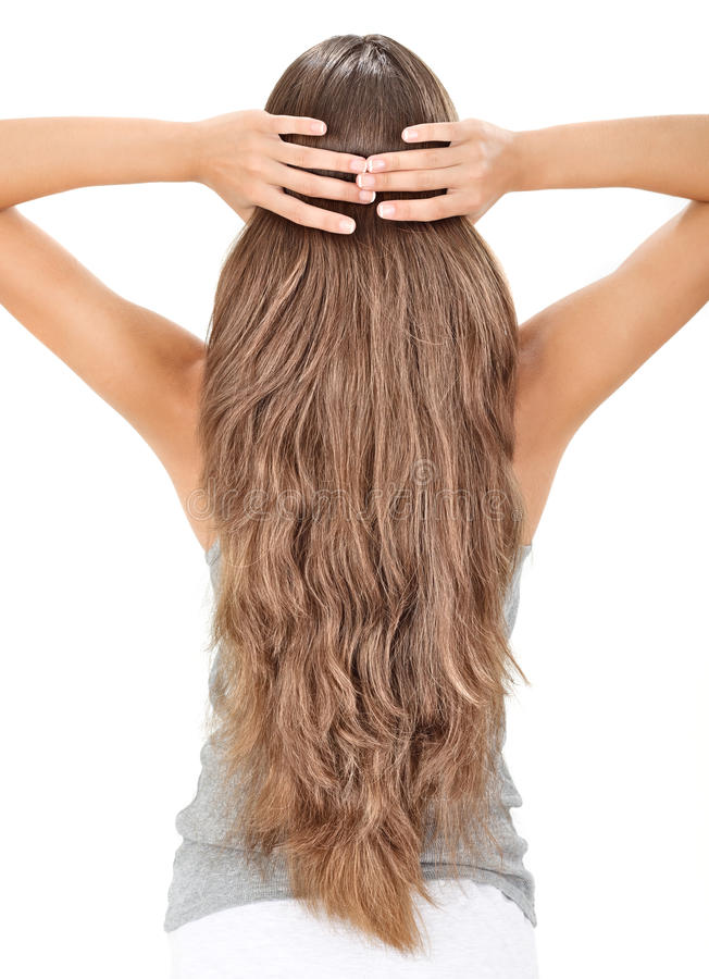 Download Brunette Lady Holding Long Hairs, View From Back Stock Photos - Image: 16241623