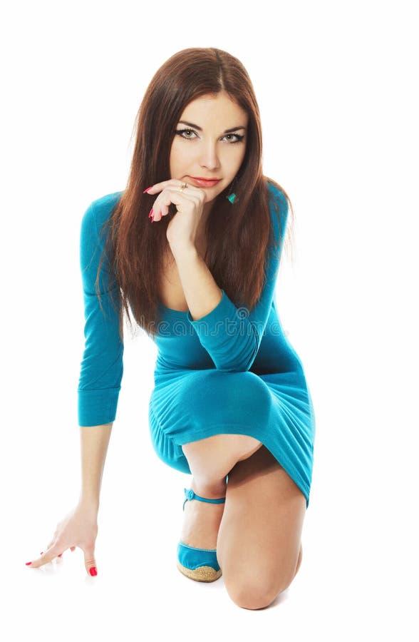 Brunette leggy novo bonito foto de stock royalty free