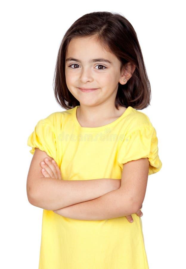 Brunette little girl stock photo