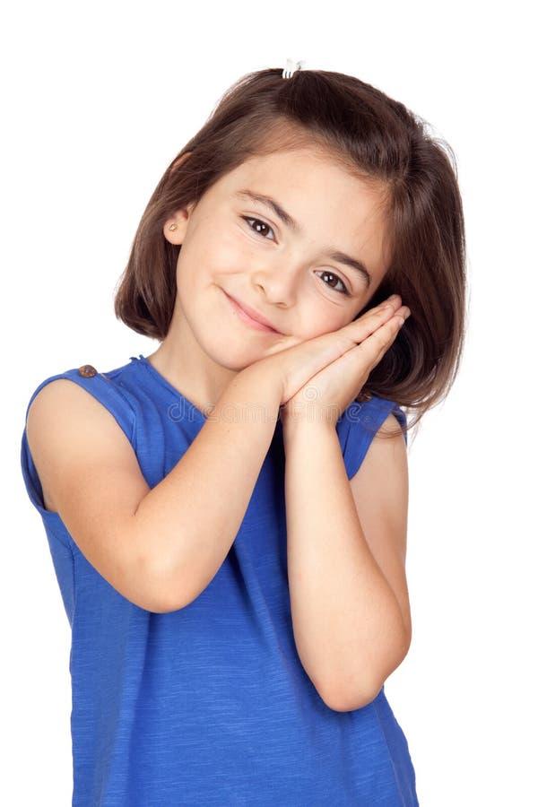 Brunette little girl stock photos