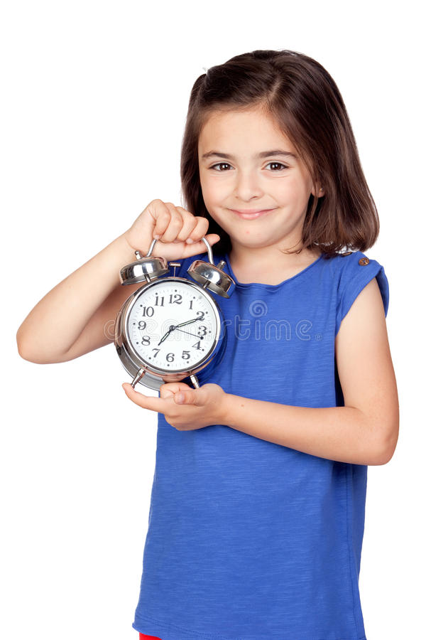 Download Brunette Little Girl With A Silvered Alarm-clock Stock Image - Image: 19890913