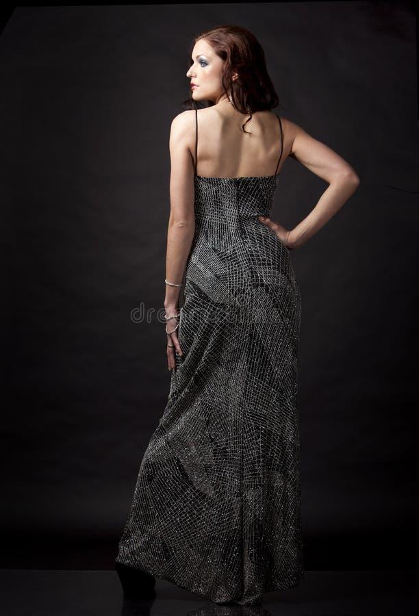 Brunette In Long Dress Stock Images
