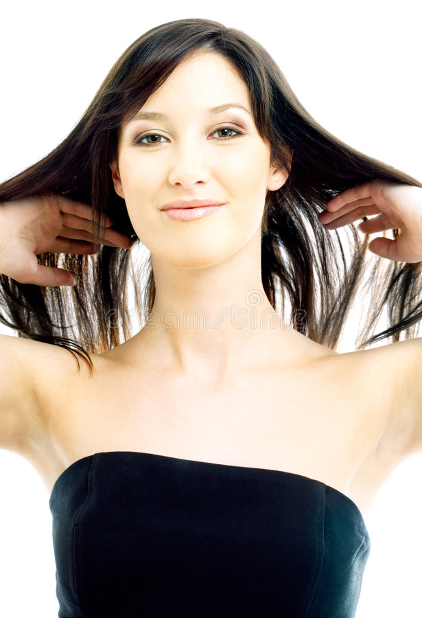 Brunette with long hair stock image