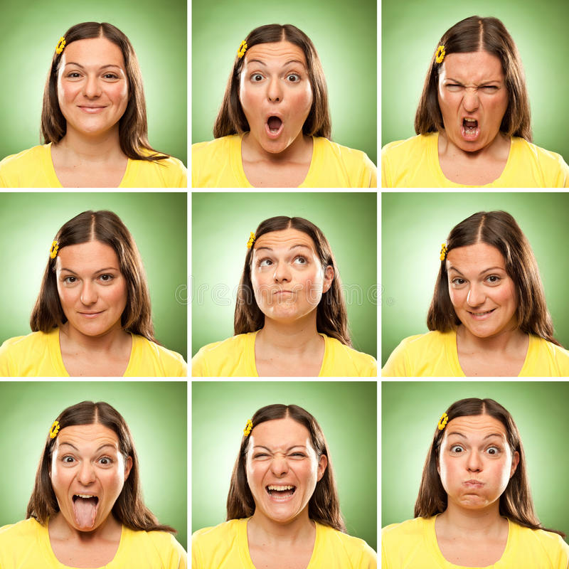 Brunette long hair adult caucasian woman square collection set of face expression like happy, sad, angry, surprise, yawn on green stock photography