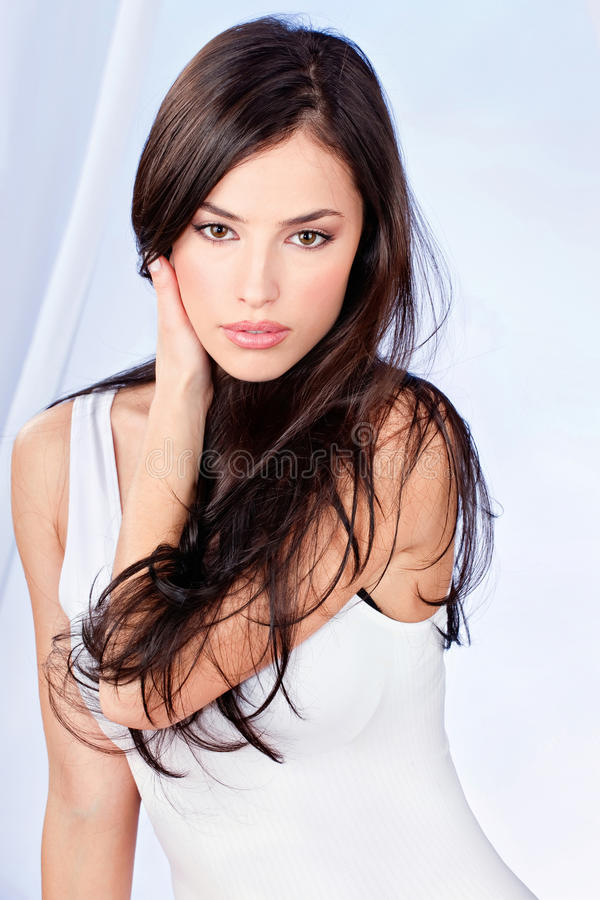Download Brunette long hair woman stock image. Image of alluring - 28825633