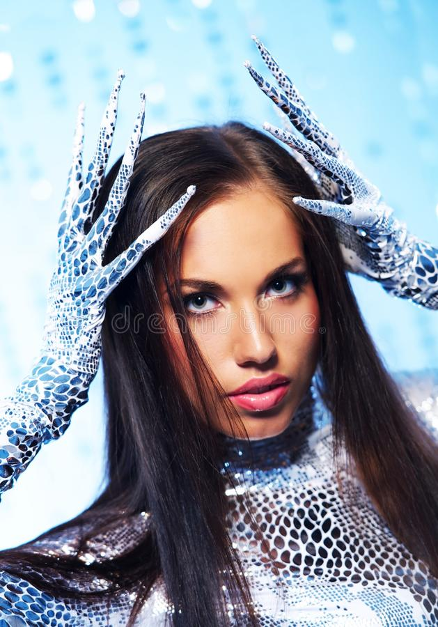 Brunette With Long Nail Gloves Stock Image - Image of blue, gloves ...
