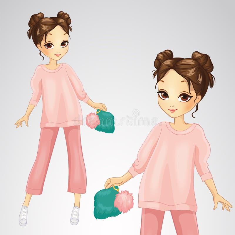 Brunette-Mädchen in der rosa Klage lizenzfreie abbildung