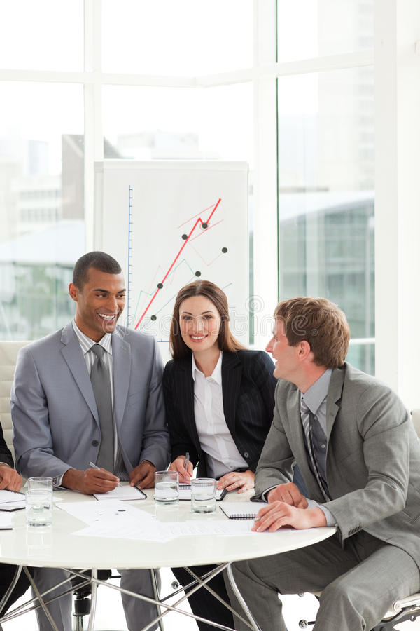 Download Brunette Manager In A Meeting With His Team Stock Image - Image: 12178513