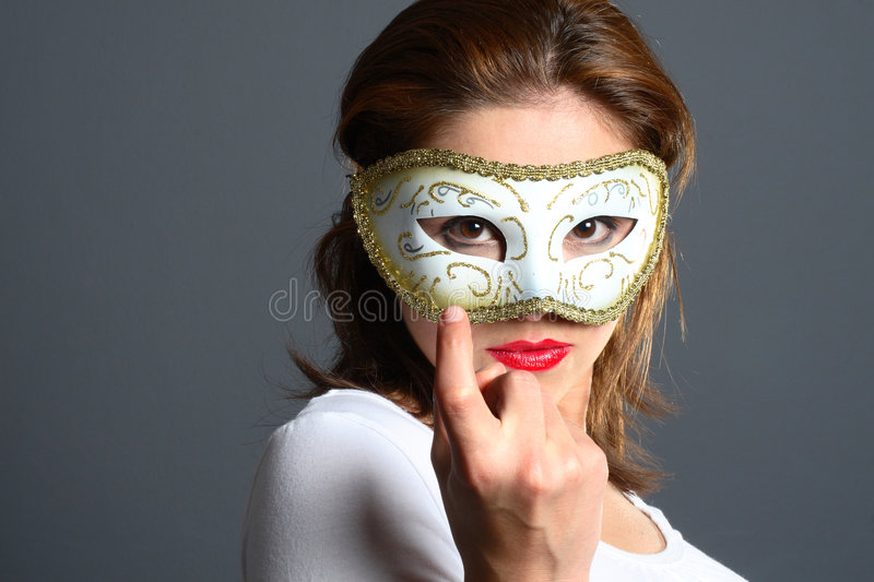 Download Brunette with mask stock photo. Image of female, finger - 1418312